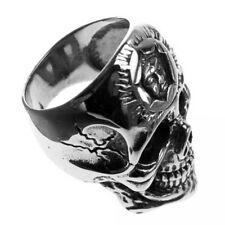 Edelstahl-Ring Tattoo Skull recht groß Totenkopf-Ring Biker