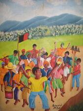 GREAT VINTAGE HAITI PEOPLE OIL PAINTING SIGN EDUARD
