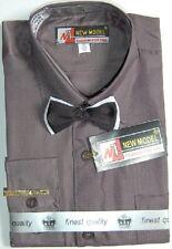 3tlg Set Anzug Langarm Hemd Fliege & Krawattennadel Uni Grau Anthrazit 104 - 164