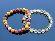 Couple Citrine/Mookaite Natural Gemstone Bracelet 6-9'' Elasticated Healing