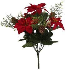 30cm POINSETTIA Red Cones Ferns Flower Bouquet Christmas Ivy Fern Festive