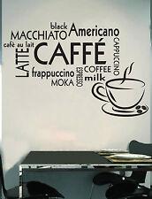 WALL STICKERS MURALI CAFFÈ coffee moka cucina muro adesivo parete espresso casa