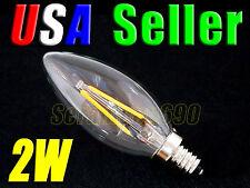 120V AC 2W Warm White LED E12 Base Candelabra Candle Light Bulb