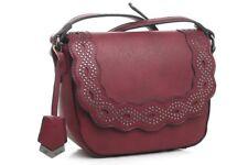 c73f392fcc Ladies Bessie London Dark Red Small Stud Design Saddle Crossbody Bag BB3048