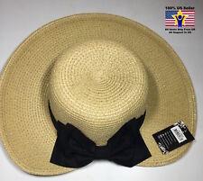 HY-3662 Black Band Panama Straw SPF50 No Back Beach Natural Women's Sun Hat