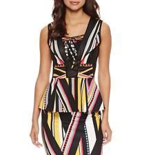 Bisou Bisou Lace Up Peplum Top Size M, L New Stripe Print Msrp $60.00