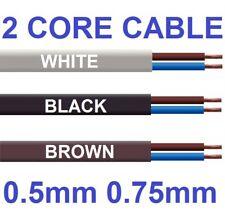 Cable plano de 2 núcleos 3amp 0.5 mm 6amp Flex Cable de PVC 0.75 mm 1 M 100 M 2192Y Blanco Negro