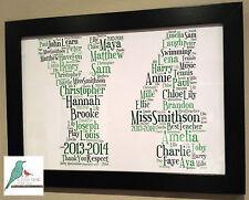 Personalised word art Thank you Nursery / Childminder Gift print / print & frame