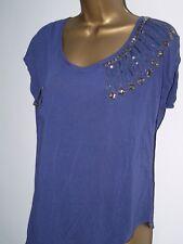 *NEW* Ladies NEXT Top Denim Blue SEQUENCED Detail T Shirt  SIZE 6, 8, 10, 12