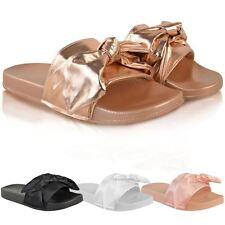 Femme Mesdames Slider Flat Slides Sandales À Enfiler Mules Pantoufle Été Pointure