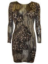 JANE NORMAN BROWN ANIMAL PRINT BACKLESS STRETCH DRESS Size 6