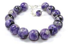 """12.5 mm Natural Genuine Purple Charoite Bracelet Armband 8"""" Beads Birthday Gift"""