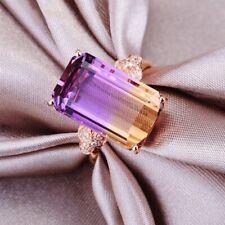 Fashion Women Purple Gemstone Crystal Rose Gold Wedding Ring Jewelry Size 6-12