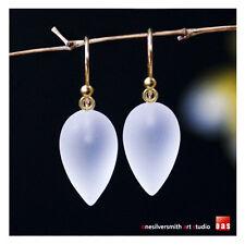 Pure 18k or 14k Gold New White Frosty Quartz Designer Earrings Hook Leverback
