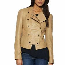 NOORA New Women Lambskin Leather Jacket Beige Slim fit Motorcycle Jacket QD136