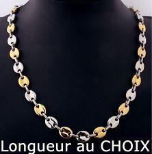 collar de cadena calabrotes Bicolor Dorado 11mm acero inoxidable a elegir