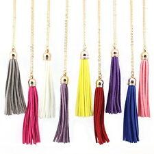 LN3433 Fashion Women Leather Tassel Pendant Long Chain Necklace