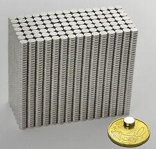 10 NEODYM RUND MINI MAGNETE D3x1,5 mm SCHEIBE NdFeB N52 VERNICKELT POWER 300 G