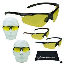 YELLOW Polarized Motorcycle Lens Sun Glasses Day Night Sports Wrap Cycling Biker