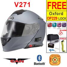 Vcan V271 Bluetooth 5 Flip Up ACU Gold Motorbike Helmet Motorcycle Matt Titantum