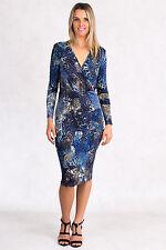 Long Elegant Blue Leopard Print Dress Sizes S, M, L Made in USA RRP $177