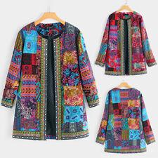 New Women Ethnic Style Print Jacket Long Sleeve Plus Size Coat Cardigan Clothes