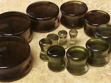 """PAIR Smoke Murano Glass Plugs 8g,6g,4g,2g,0g,00g,7/16"""",1/2,9/16,5/8,3/4,7/8,1"""""""