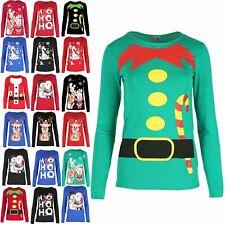 Ladies Santa Buttons Print Mini T Shirt Ladies Xmas Christmas Stretch Dress Top