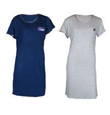 Ladies Womans camicia da notte COTONE GRIGIO BLU Comodi Camicia 8 10 12 14 16 18 20
