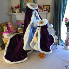 Bridal Winter Wedding Cloak Cape Hooded with Fur Trim Long Flower Girl Cloak