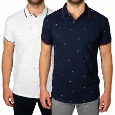 Polo Uomo Manica Corta T-shirt Cotone Fiorellini Maglia Slim S M L XL XXL XXXL