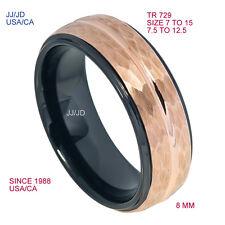 Tungsten Ring Black /Rose Gold IP Platted Center Men Wedding Band Bridal 729