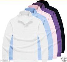 POLO da Uomo Tinta Unita T-shirt Alla Moda Top Work Wear Cotone S M L XL XXL