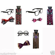 Braces Bow Tie Glasses For Dweeb Emo Nerd Geek Look Fancy Dress Accessories