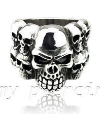 Men's Stainless Steel Stainless Steel Multiple Doomed Skulls Ring Size 9-12