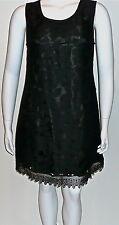 Beautiful! Floral Lace Crochet Trim Layered Shift Dress Black Plus 14W 16W New!