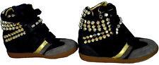 Scarpe Donna Zeppa Alta Pelle Serafini Manhattan Black Gold Studs Sneakers Shoes
