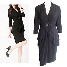 Black V Neck 3/4 Sleeve Embellished  Buckle Layered Dress In Size 10, 12
