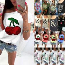 Womens Ladies Short Sleeve Print T-shirt Summer Casual Basic Tee Tops Blouse UK