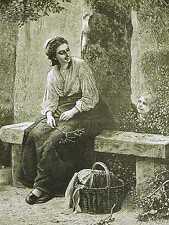 Servant Sitting on Bench LITTLE BOY PEEPING thru BUSH w POETRY 1875 Print Matted