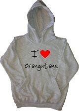 I Love Heart Orangutans Kids Hoodie Sweatshirt