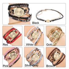 7Color Lady Women Braid Weave Bracelet Quartz Analog Round Watch Wristwatch Gift