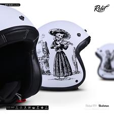 Rebel R9 Skeleton - Jethelm Jet Roller Vespa Mofa Helm Motorrad Retro ECE XS-XXL
