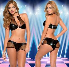 SizeS-2XL Sexy Bodycon Lingerie Bra Short Panties Metallic PVC Wet Look Clubwear