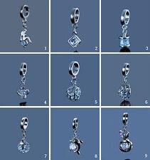 Anhänger Zirkonia Dangle Bead Beads silberfarben Charms für Armband Kette, A-173
