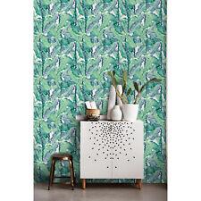 Aqua Banana Tropical Self Adhesive Banana Leaf Print removable wallpaper