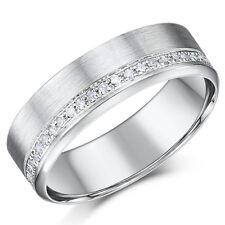 9ct White Gold Diamond Ring 6mm Brushed Wedding Ring 0.19pts