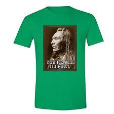 All illegal Fighting Terrorism T-Shirt Native American Flag USA Indian Tshirt