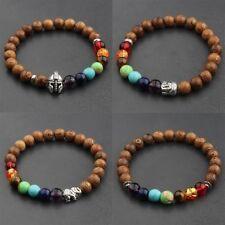Fashion Charm 8mm Wood Beads Leopard Head Cross Energy Yoga Reiki Men Bracelets