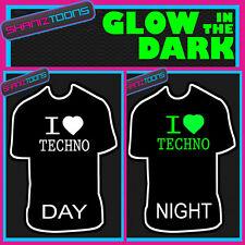 I LOVE TECHNO MUSIC DJ MUSIC FESTIVAL GLOW IN THE DARK PRINTED TSHIRT